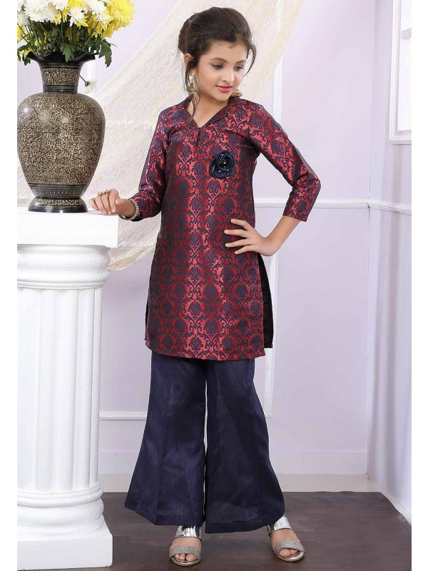 Maroon,Blue Colour Salwar Suit.
