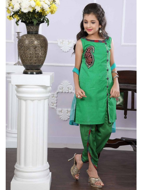 Girl's Green Colour Designer Salwar Suit.