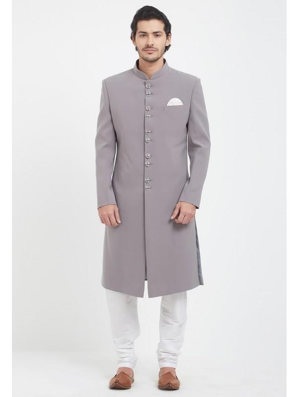 Grey Colour Achkan Sherwani.
