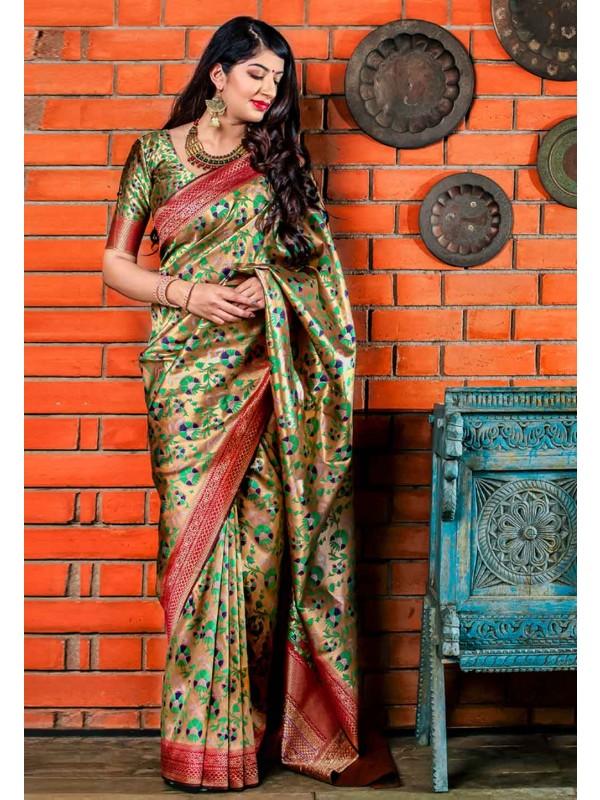 Golden Colour Printed Saree.
