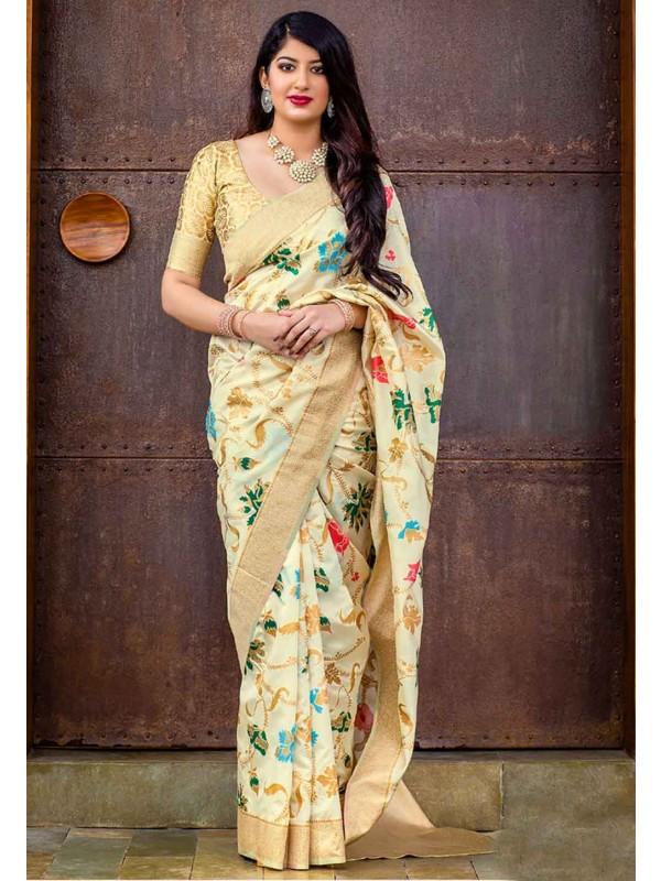 Cream Colour Indian Saree.