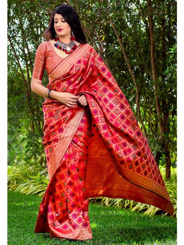 Red Colour Silk Saree.