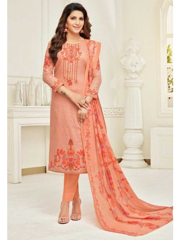 Peach Colour Cotton Salwar Kameez.