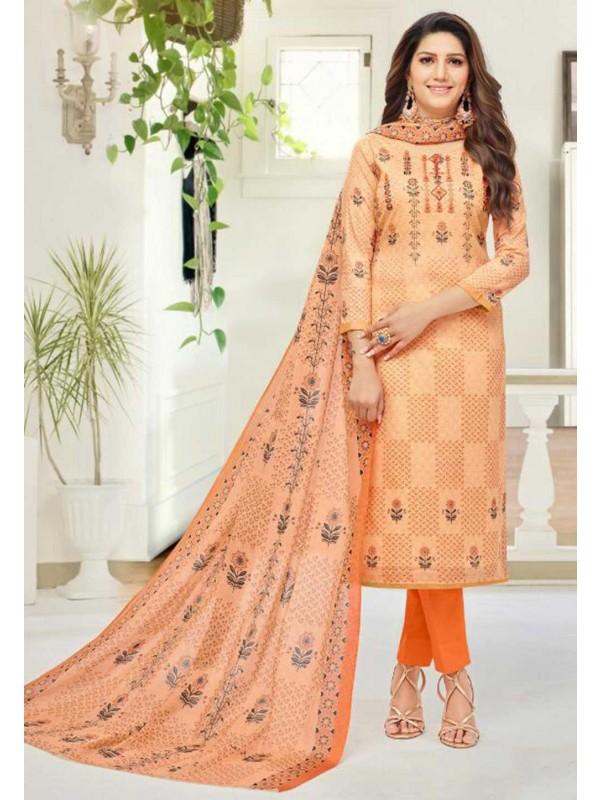 Orange Colour Cotton Salwar Suit.