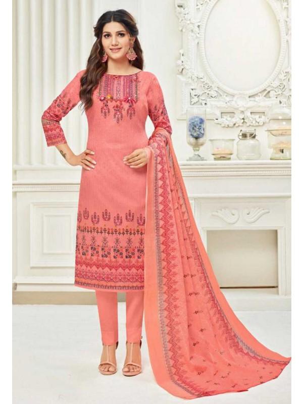 Peach,Pink Colour Salwar Kameez.