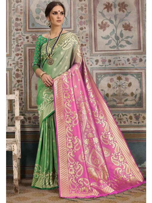 Green,Pink Colour Traditional Saree.