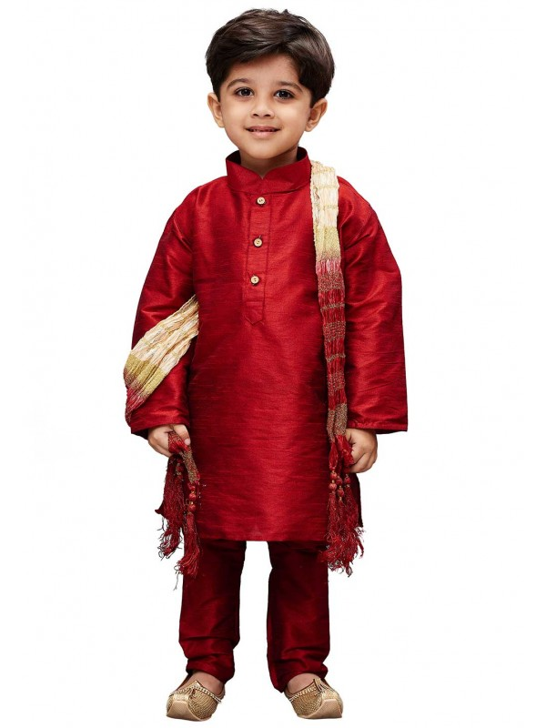 Maroon Colour Cotton Silk Kurta Pajama.