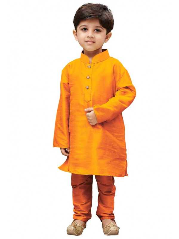 Orange Colour Boy's Traditional Kurta Pajama.