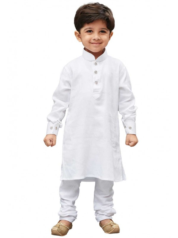 White Colour Cotton Fabric Boy's Kurta Pajama.