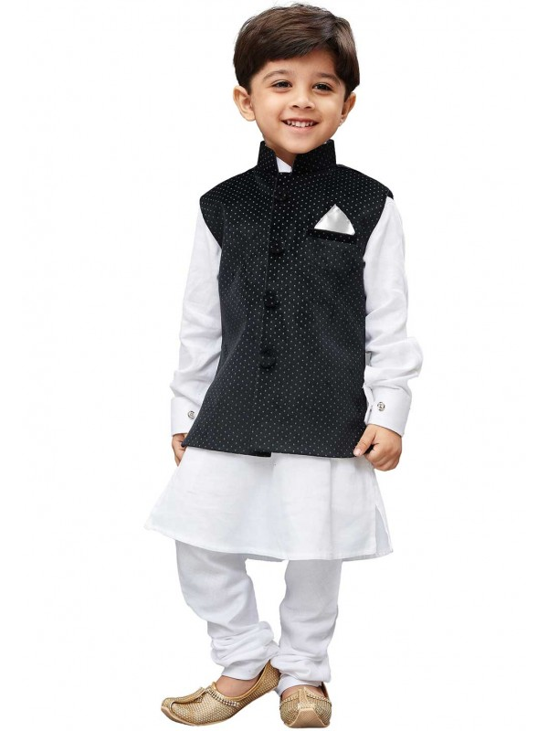 White,Black Colour Boy's Kurta Pajama Jacket.