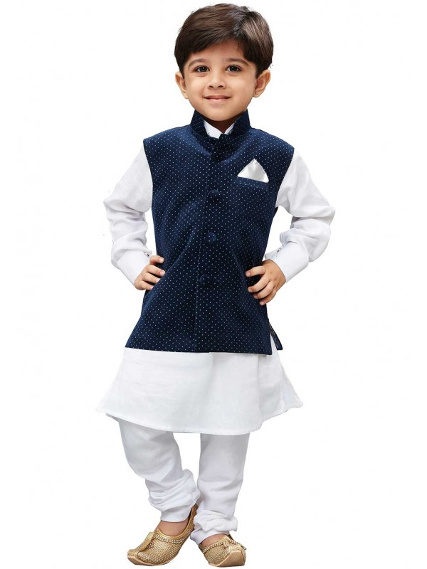 White,Blue Colour Readymade Kurta Pajama.