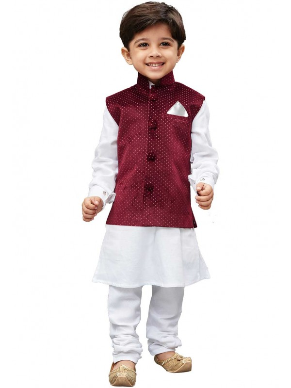 White,Maroon Colour Cotton Kurta Pajama.