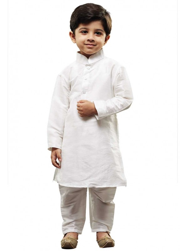 White Colour Boy's Kurta Pajama.