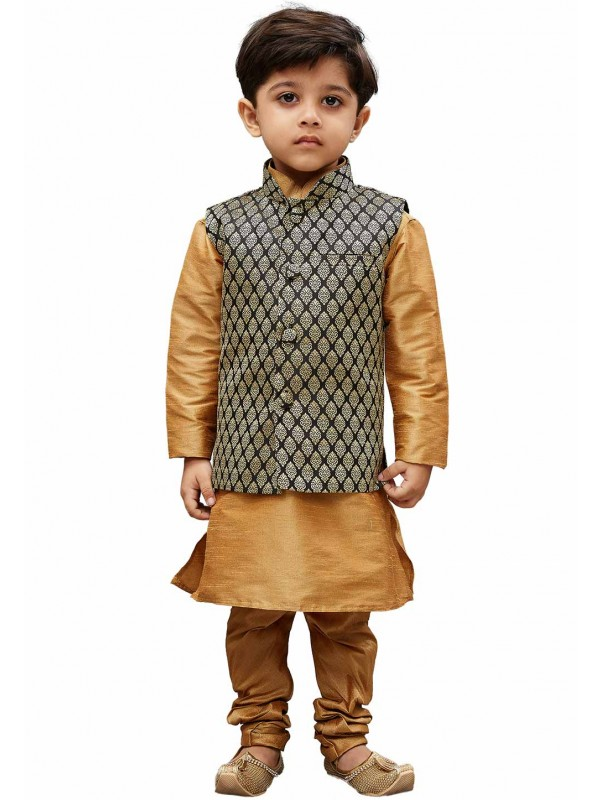 Golden,Black Designer Kids Kurta Pajama.