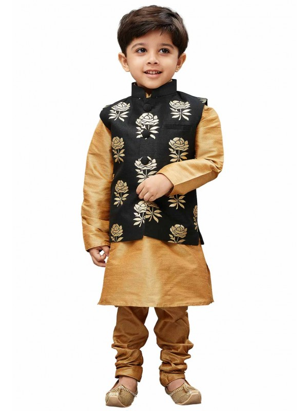 Golden,Black Colour Boy's Kurta pajama.
