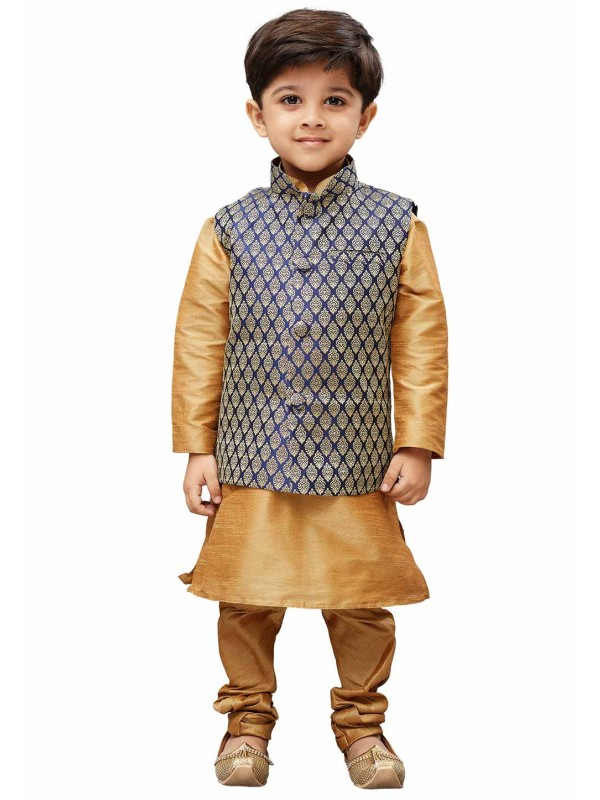 Golden,Blue Colour Boy's Party Wear Kurta Pajama