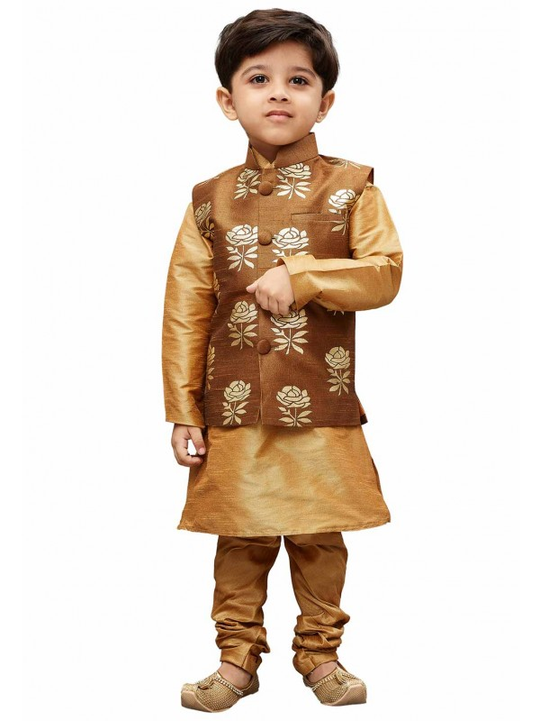 Golden,Brown Colour Designer Kurta Jacket.