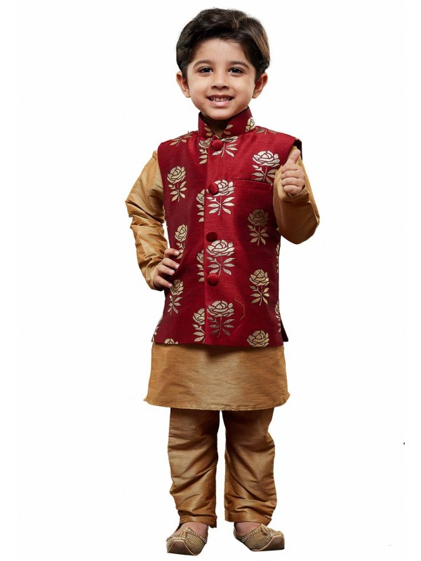 Golden,Maroon Colour Boy's Readymade Kurta Pajama.