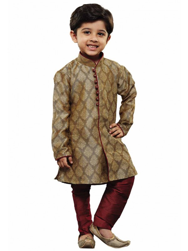 Boy's Beige Colour Kurta Pajama.