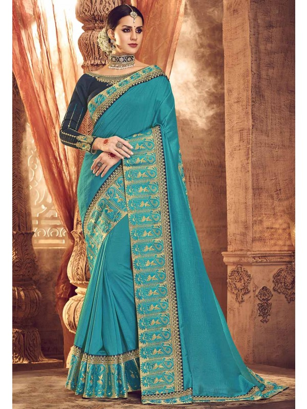Sea Blue Designer Saree.
