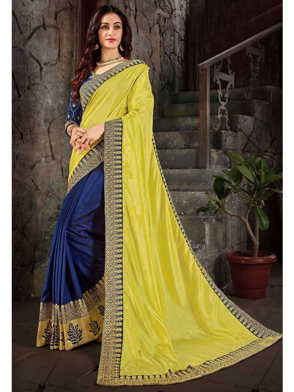 Blue,Yellow Colour Embroidery Saree.
