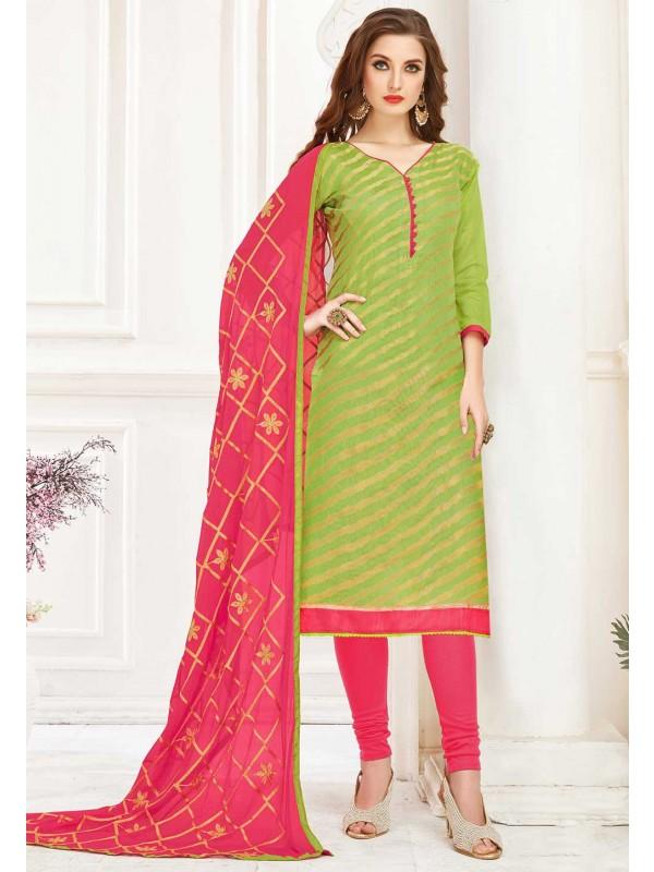 Green Colour Printed Salwar Suit.
