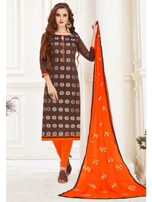 Brown Colour Casual Salwar Suit.