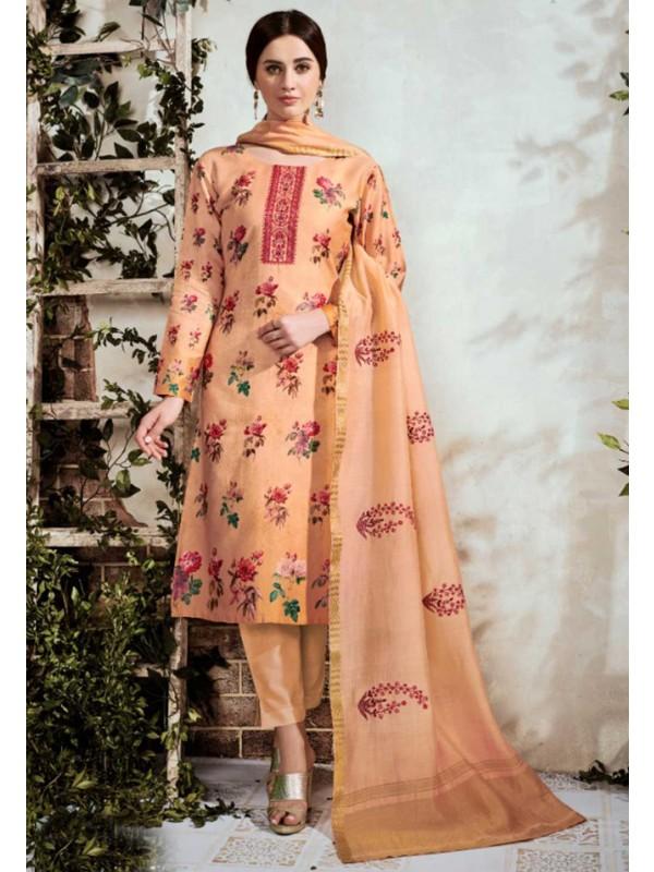 Orange Cotton Palazzo Salwar Suit.