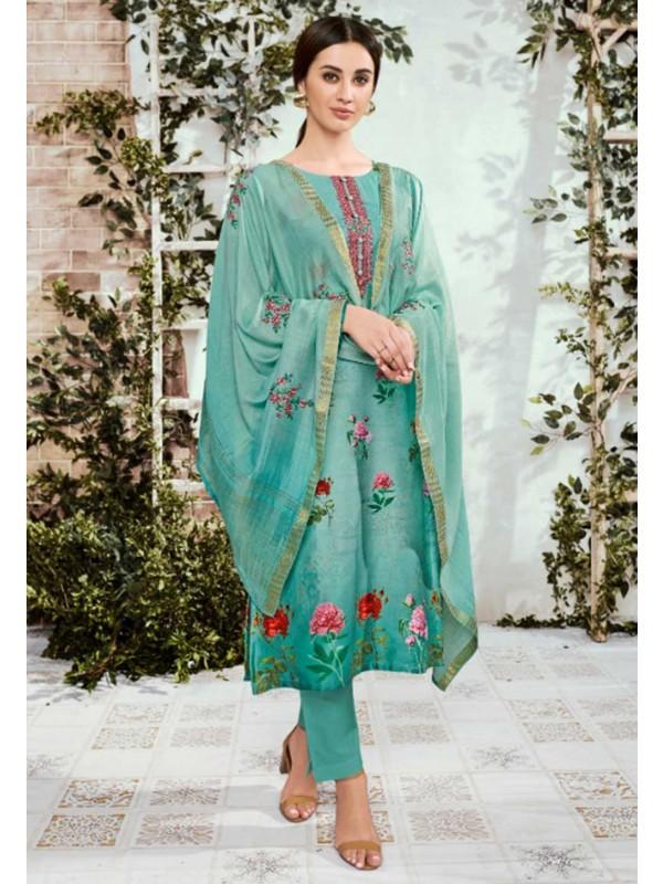 Green Colour Printed Salwar Kameez.