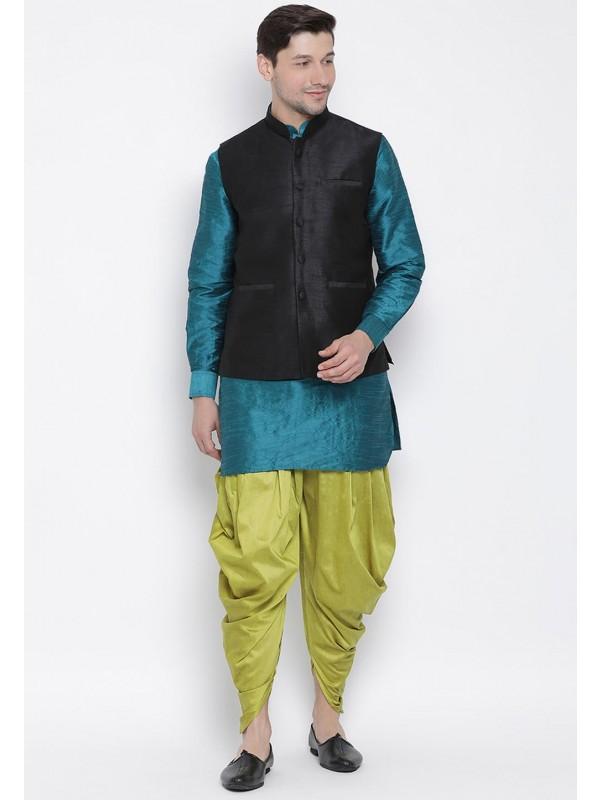 Cotton Silk Dhoti Kurta Pajama.