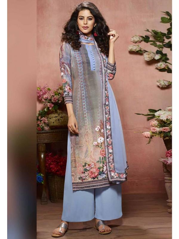 Blue Color Digital Print Palazzo Suit.