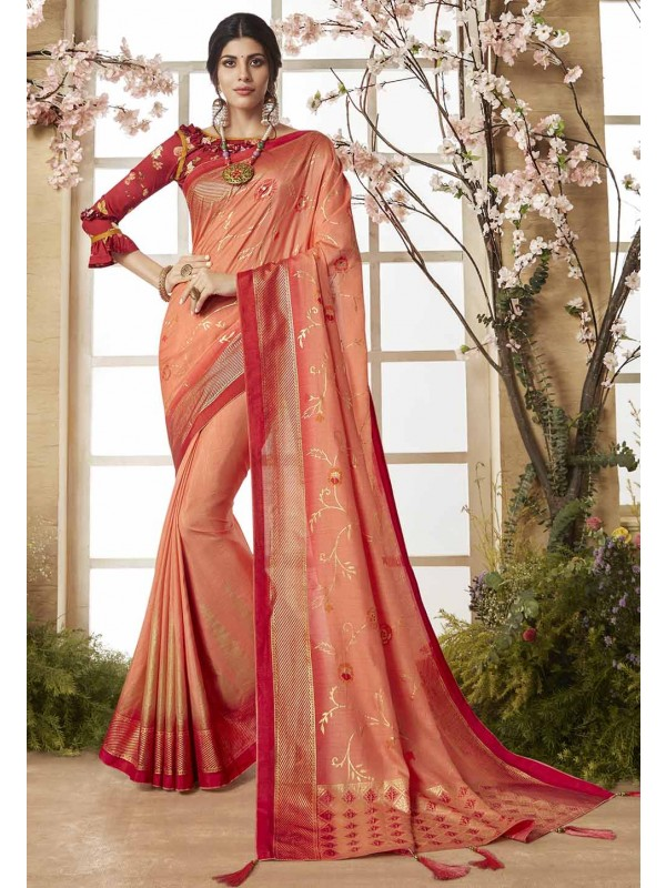 Red Color Printed Saree.