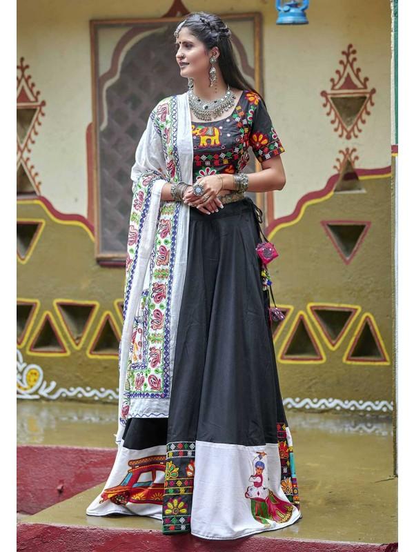 Black Colour Cotton Lehenga Choli.