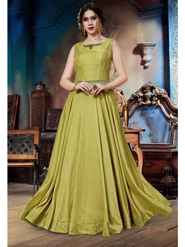 Pista Green Colour Designer Gown.