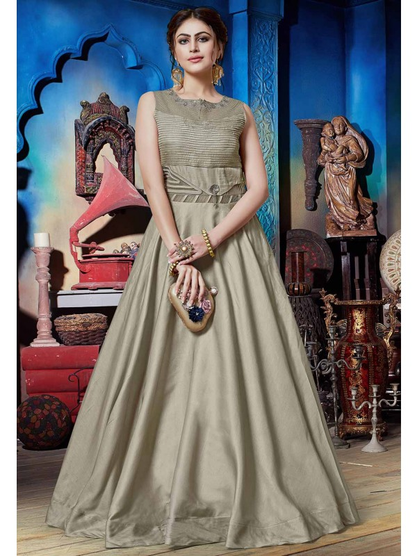 Light Green Colour Silk Indowestern Gown.