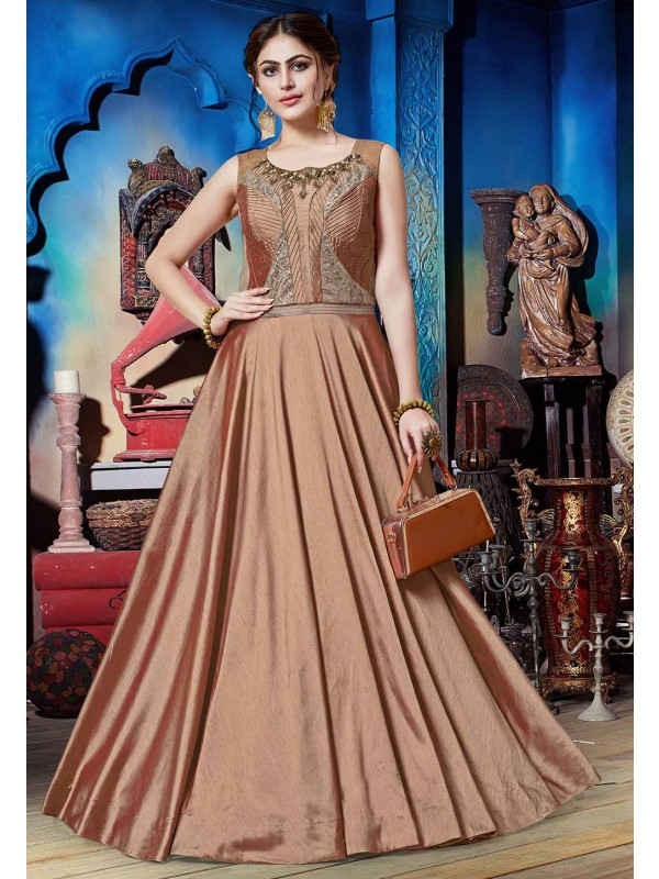 Brown Colour Silk Readymade Gown.