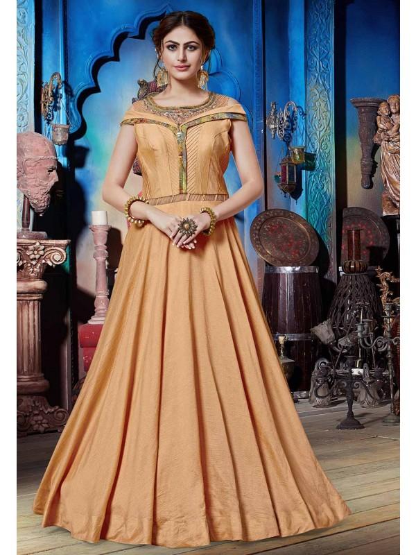 Peach Colour Designer Gown.