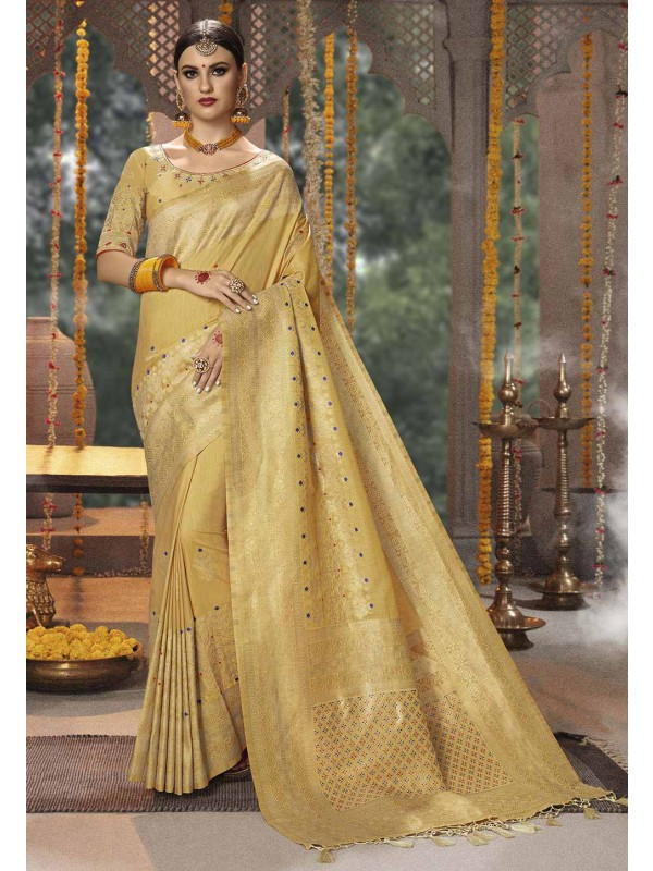 Party Wear Saree in Beige Colour.