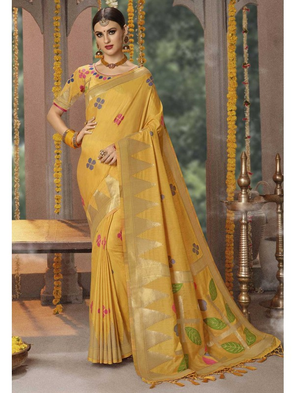Yellow Colour Banarasi Silk Designer Saree.