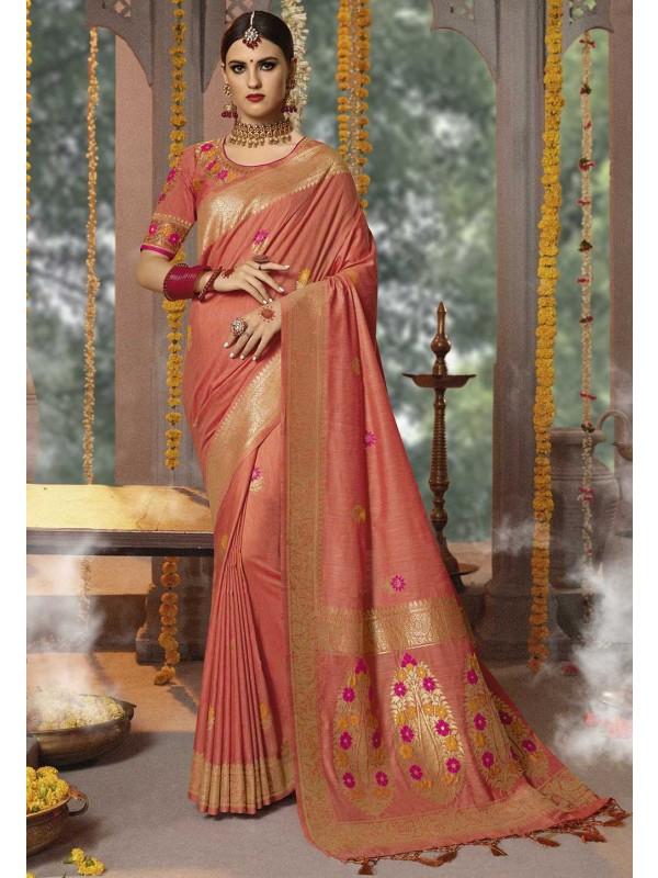 Peach Colour Designer Saree.
