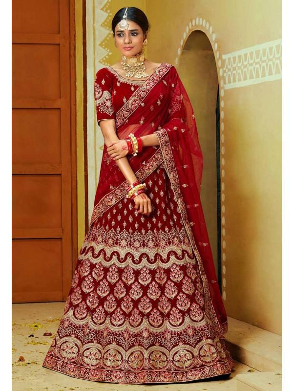 Indian Designer Lehenga Choli Red,Maroon Colour.
