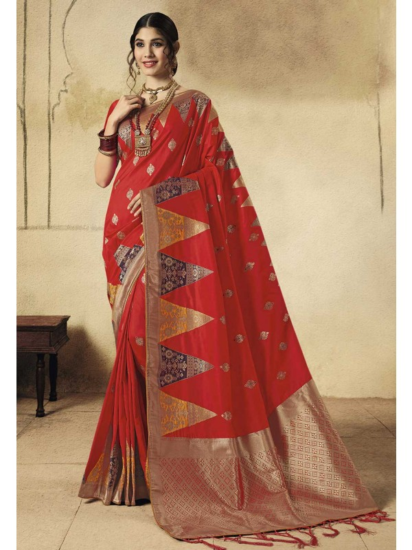 Traditional Silk Saree Red Colour.