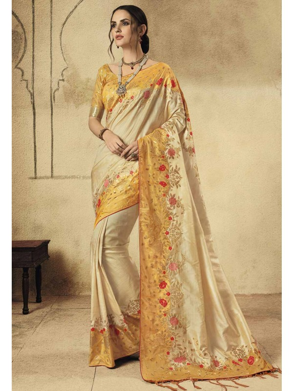Beige Colour Banarasi Silk Saree.
