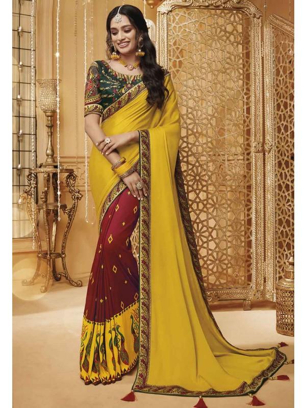 Indian Wedding Saree Yellow,Maroon Color.