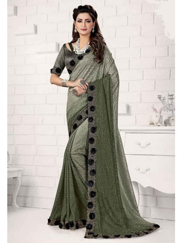 Green Colour Designer Saree.