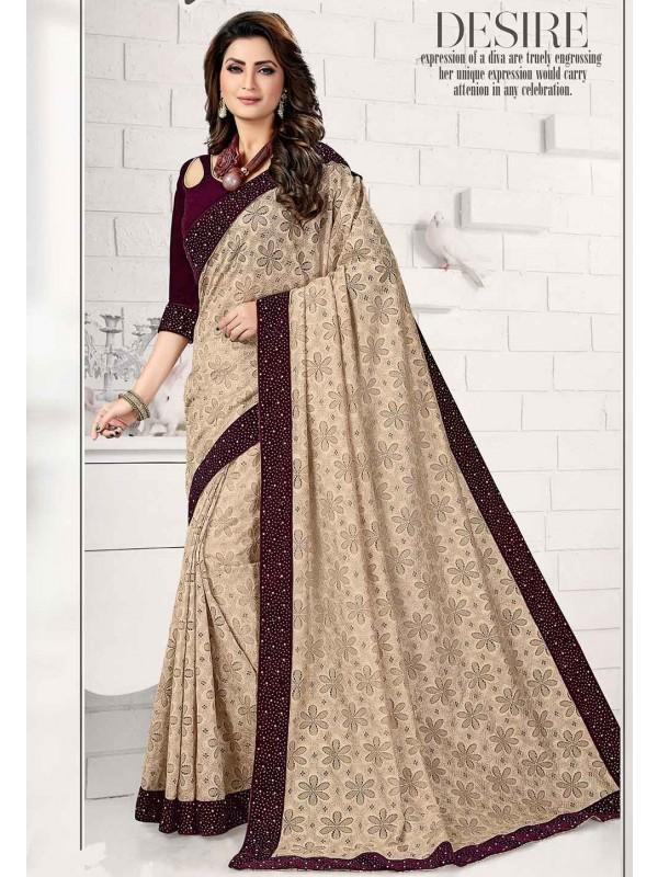 Beige Colour Designer Saree.