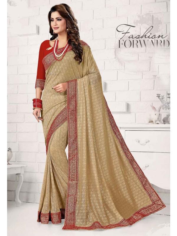 Golden Colour Indian Designer Saree.