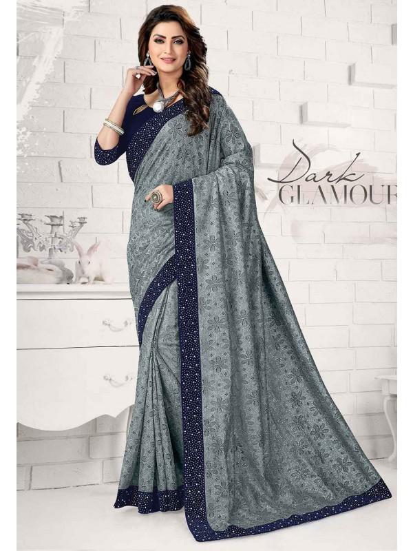 Grey Colour Lycra Saree.