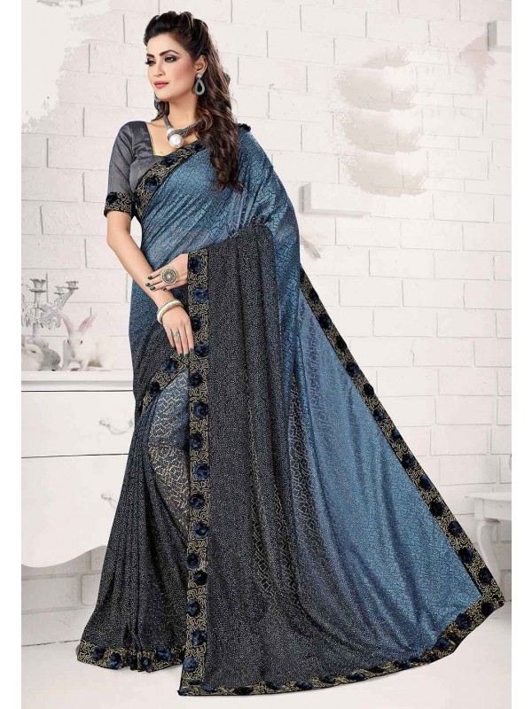 Blue Colour Embroidery Saree.