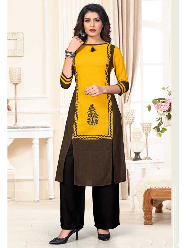 Designer Kurti Yellow Colour.